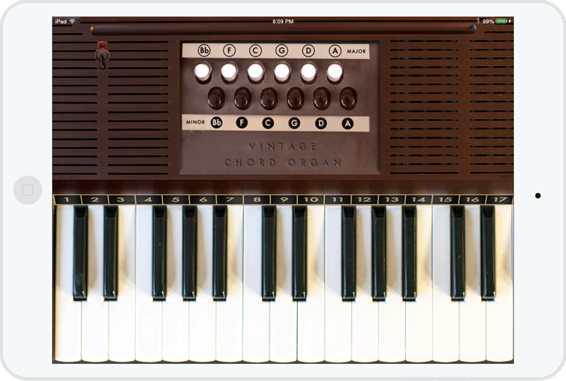 Chord Organ running on an iPad