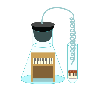 Toy piano inside a test tube