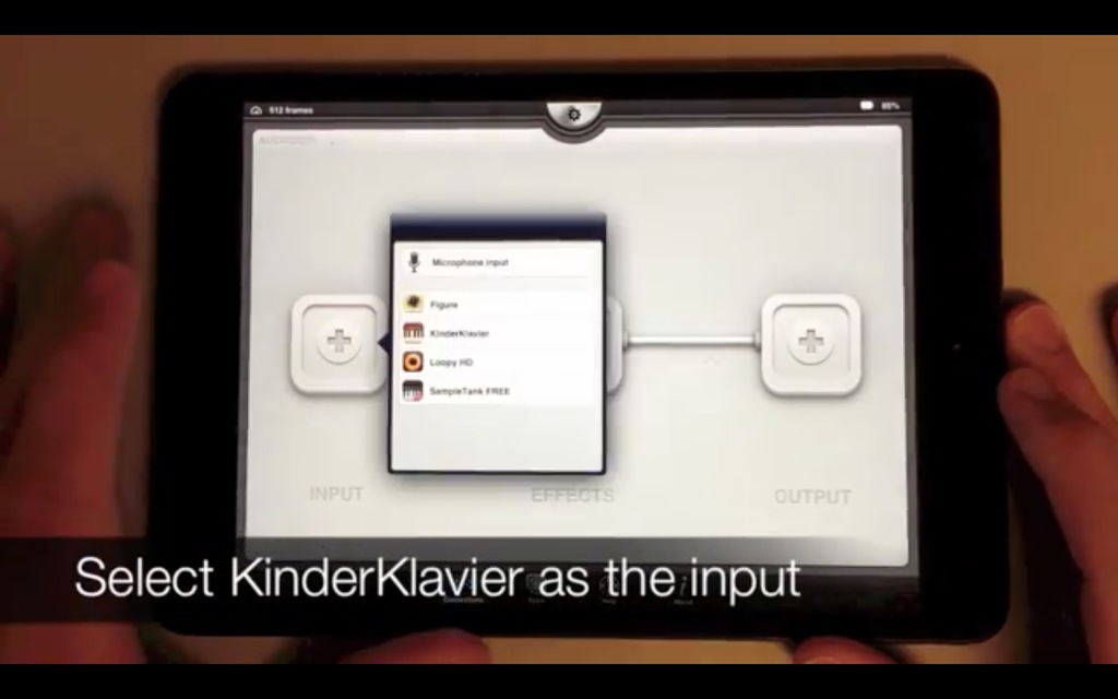 Select Kinderklavier as the Input device
