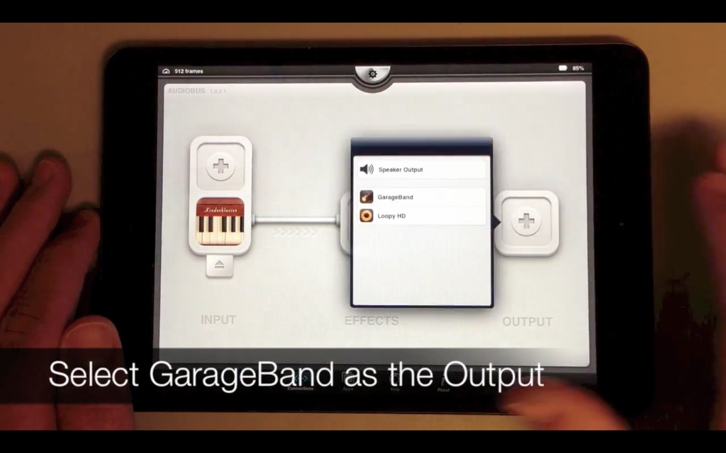 Select Garageband as the Output Device